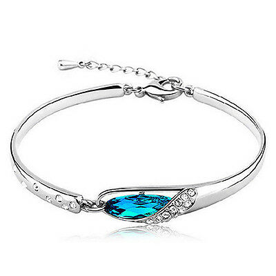 New Silver Plated Austrian Crystal Blue Bracelet Bangle Chain Gift Jewellery UK