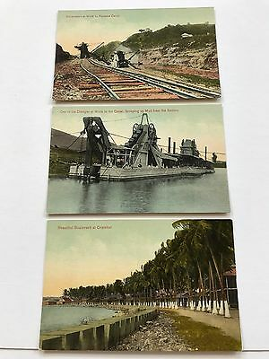 Lot of 3 Panama Canal Construction Printed Postcards 4/6
