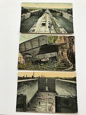 Lot of 3 Panama Canal Construction Printed Postcards 1/6