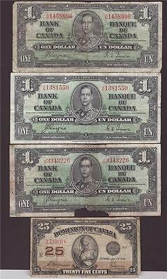 3x 1937 Bank of Canada One Dollar banknotes plus one 1923 shiplaster all damaged