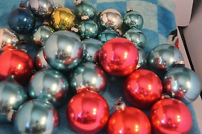 Lot of 27 Christmas Vintage Glass Ball Ornaments Shiny Brite Premier Made in USA