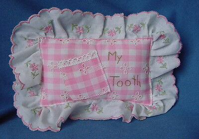 Baby Keepsake Tooth Fairy Pillow Pink Gingham Check W/flower Ruffle