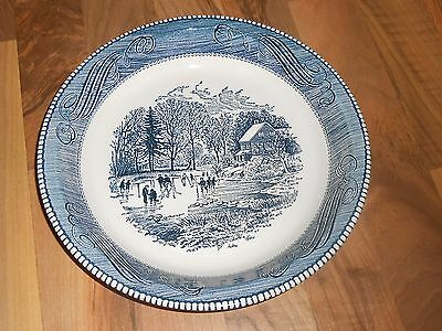 "Vintage Jeannette Royal China Currier & Ives Blue 10"" Pie Plate"