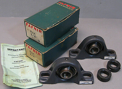 "PAIR Fafiner ~ RAK 3/4"" PILLOW BLOCK BALL BEARING ~ NOS made in USA"