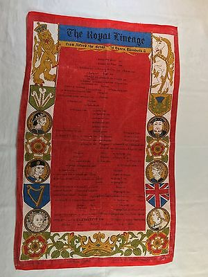 Vintage Ulster Irish Linen The Royal Lineage Print Tea Towel Red Multi Ireland