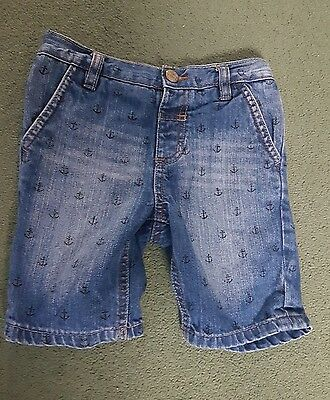 Boys Denim Shorts with Anchors Age 3-4 years