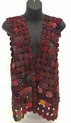 Vintage Multi-Red Boho Yo Yo Hand-Pieced Ladies Vest Size Medium / Large