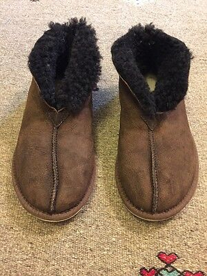 Celtic And Co MEN'S SHEEPSKIN BOOTEE SLIPPER Mocca Size 9