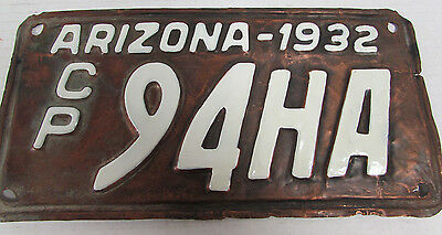 1932 Arizona Commercial Truck License Plate Rare Copper D770