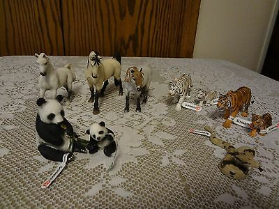Lot of 10 Schleich Animals Horses Pandas Snake More (7 have original tags)