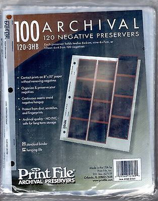 Print File 100 Archival 120 Negative Preservers 120-3HB. Unopened package