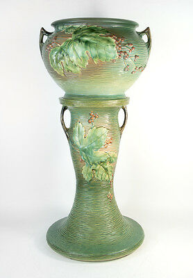 "Roseville USA 657-10"" Green Bushberry Jardiniere & Pedestal Planter Art Pottery"