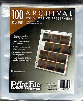 Print File 100 Archival 120 Negative Preservers 120-4UB. Unopened package