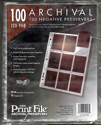 Print File 100 Archival 120 Negative Preservers 120-9HB. Unopened Package.