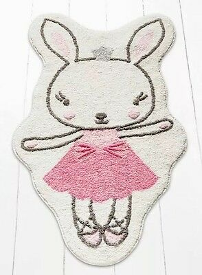 Girls Childrens Princess Rabbit Nursery/Bedroom Rug Pink Bunny Rabbit Mat NEW