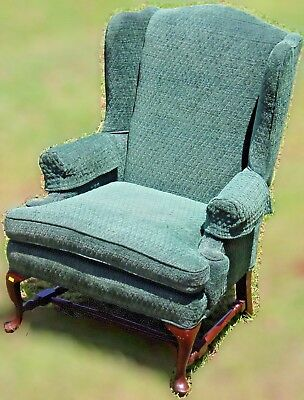 Retro Queen Anne Style Wing Back Chair