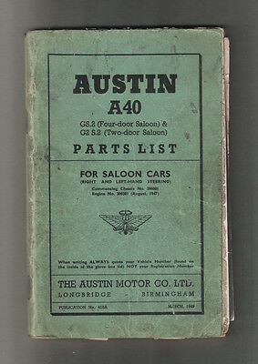 Austin Austin A40 - Parts List for Saloon Cars GS.2 and G2 S.2 - March 1949