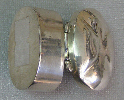 Vtg Sterling Silver Heavy Taxco Mexico Hinged Domed Pill Snuff Trinket Box 26.7g
