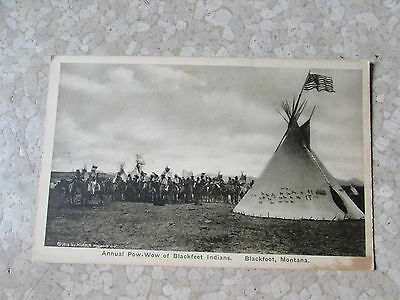 Vintage Blackfoot Pow-Wow Indians Montana Great Northern Railway Post Card