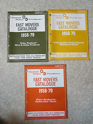 United Delco Fast Movers Catalogs 1958-1970 Bulbs Carburetor Parts Wire Cable
