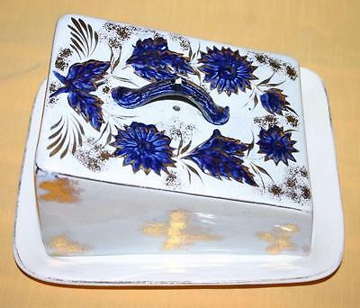 Vintage W H W & Sons Large Cheese Butter Covered Dish With Blue & Gold Detail