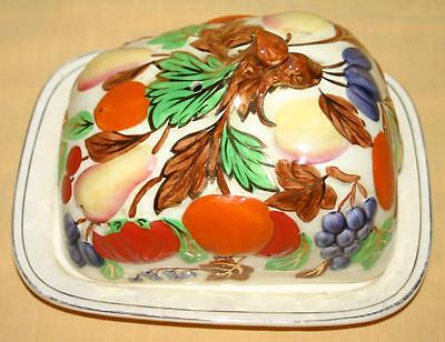 Gibson Vintage Large Covered Butter Cheese Dish Decorated with Fruit and Gilding