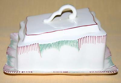 Vintage Covered Butter Dish in Green and Red on a Cream Background