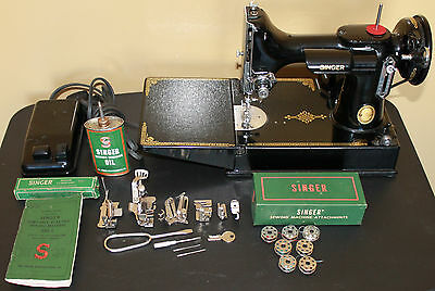 1952 Singer Featherweight 221 k Sewing Machine, Pedal, Case & Accessories