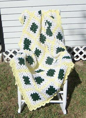 Handmade Crochet Afghan - Granny Squares Green / White / Yellow 54 X 70