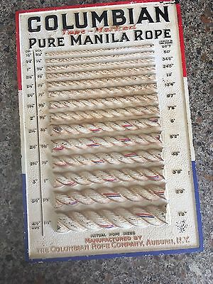 Vintage Columbian Rope Co Pure Manila Hardware Store Display Sign Auburn NY