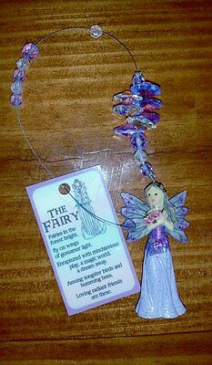 FAIRY with Crystal Cluster Child's room car mirror window hanging prism