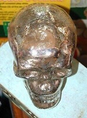 Silver Mercury Glass HUMAN SKULL Day of The Dead Wiccan Alter Halloween Skeleton