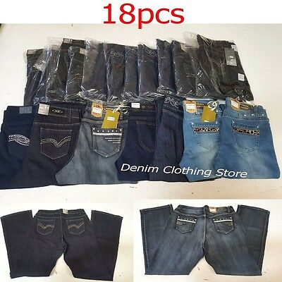 Lot of 18 Women's Boot Cut Dark Blue Black Jeans Pants Denim Wholesale Mix 3-15