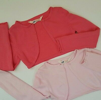 H&M Girls Cropped Cardigan Pink Sweater Tops /Bolero ~LOT of TWO~ Sz S 4-6 Years