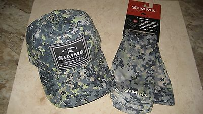 Simms Single Haul Cap and Sun Sleeve Combo, Tidal Camo, New with Tags!