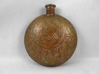 Antique/vintage Engraved Brass Gun Powder Flask Arabic/islamic/tuareg/persian