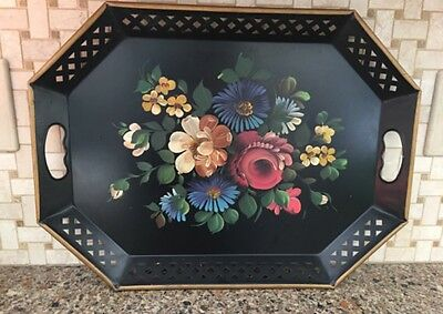 Vtg Nashco Black Metal Tray with Handpainted Flowers - Toleware - 19x15