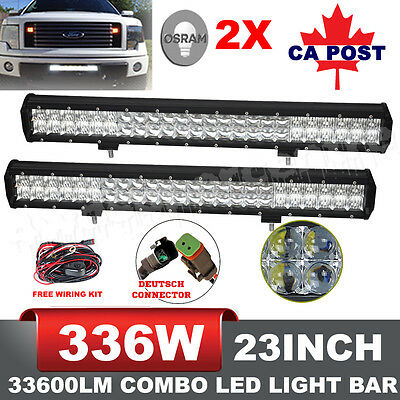 Pair 5D 23Inch Osram 33600LM Led Light Bars Spot Flood Offroad Driving 4wd Lamp