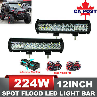 2x 12inch 224W LED Light Bar Flood Spot Combo Work Driving Lamp Philips Lumileds