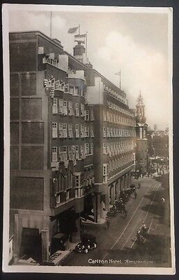 Netherlands Amsterdam- Carlton Hotel- Busy Town View- RPPC Photo PC D8