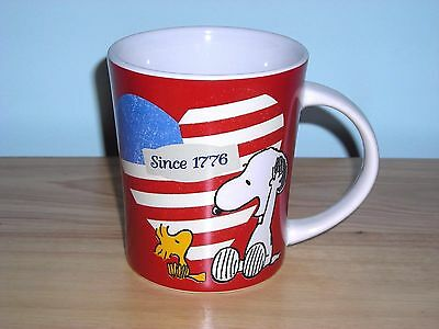 New ~ July 4Th Snoopy & Woodstock Patriotic American Coffee Mug Cup ~ Usa Flag