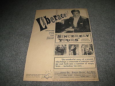 Vintage Movie ad - Sincerely Yours Liberace 1954