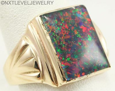 Antique Art Deco LARGE RAINBOW RARE Natural BLACK Opal 10k Solid Gold Men's Ring