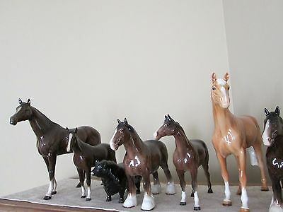 Large Lot of Vintage & Antique Beswick England Horses, a Foal, Cows & a Bull