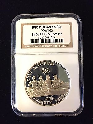 1996-P Commemorative Proof 90% Silver Dollar Ngc Pf68 Ultracameo Olympics Rowing