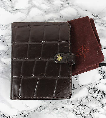 MULBERRY Chocolate Brown Congo Leather Agenda Diary Planner Filofax Organiser
