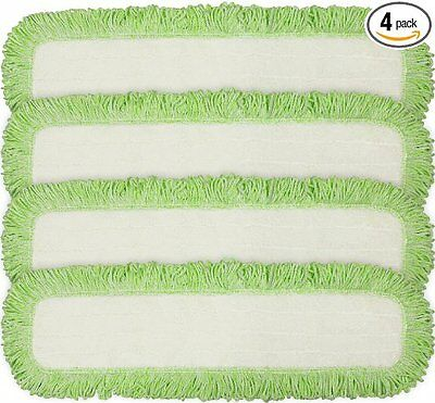 Eurow Commercial Microfiber Dry Mop Pad Refill 24 In Green 4 Pack