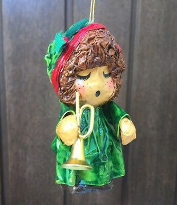 Vintage Paper Mache Girl Saxophone Christmas Red Green Ornament Girl Holly