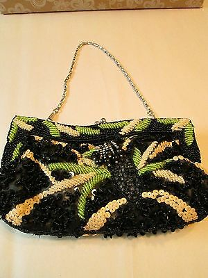 Vintage Style Glass Beaded and Sequins Clutch Purse/Handbag w/chain Black/Green/