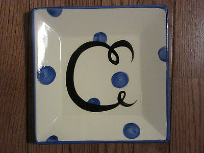 "*new* Gail Pittman Pottery Monogram Blue Dot Letter ""c"" Square Salad Plate"